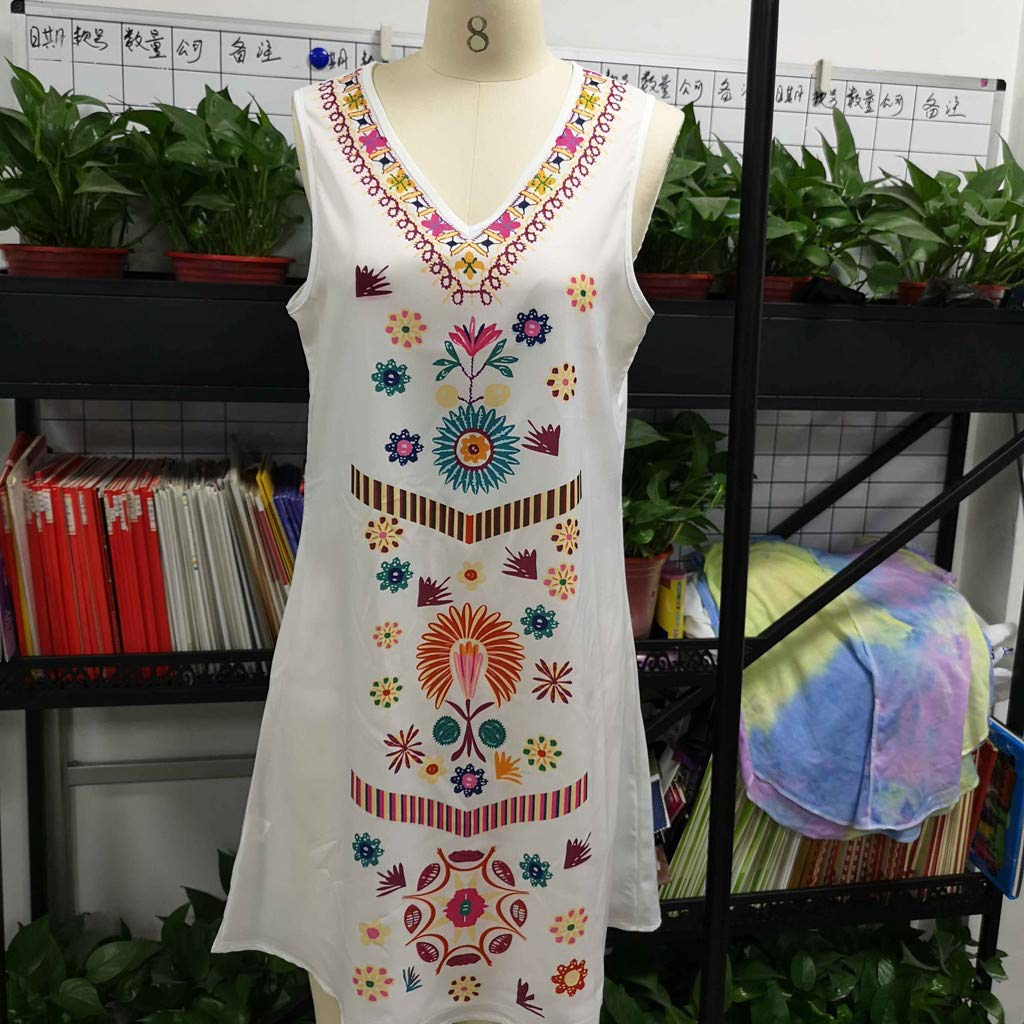 UONQD Womens Holiday Boho Print Ladies Summer Pomisi Loose Beach Party Dress