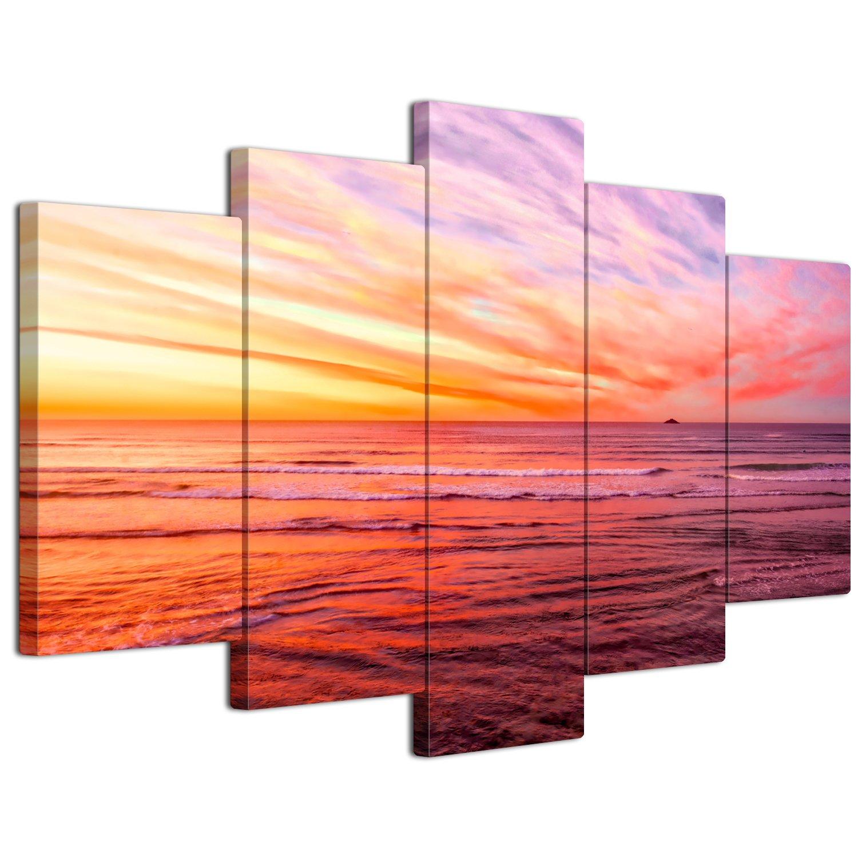 【リブラLibra】 5パネルセット アートパネル インテリアアート 海の景色 キャンバス絵画 (木枠付きの完成品) (L, LP1757) B075VKNFBV Large|LP1757 LP1757 Large