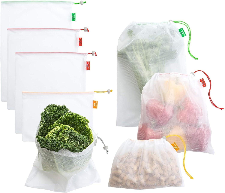 Bundle of Electric Salt and Pepper Grinder Set UN8 and Premium Reusable Produce Bags Set of 8