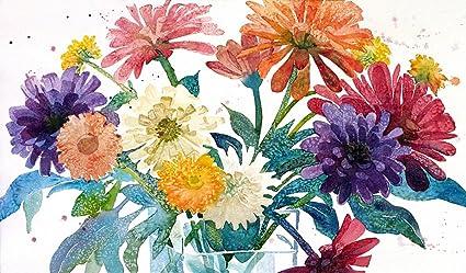 amazon com zinnia bouquet giclee print of watercolor flower
