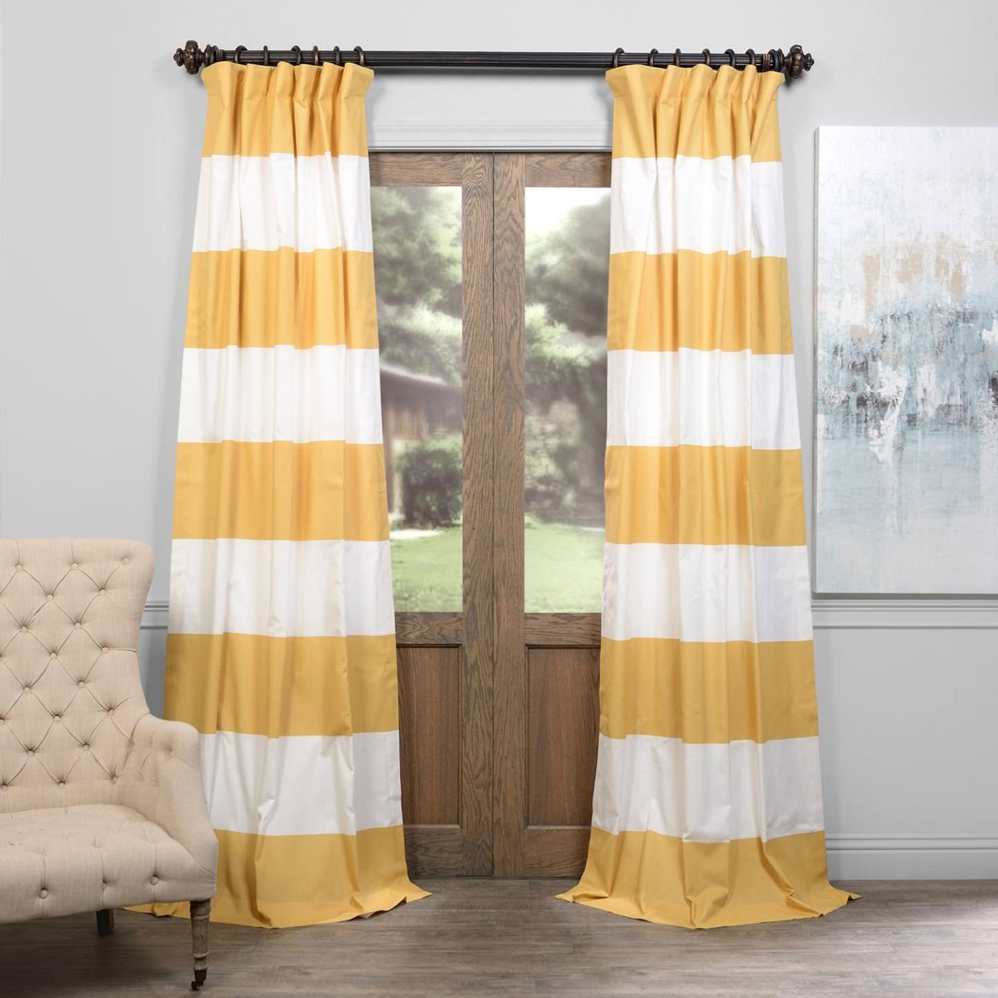 Horizontal Stripe Cotton Curtain, Quince Yellow & Off/White