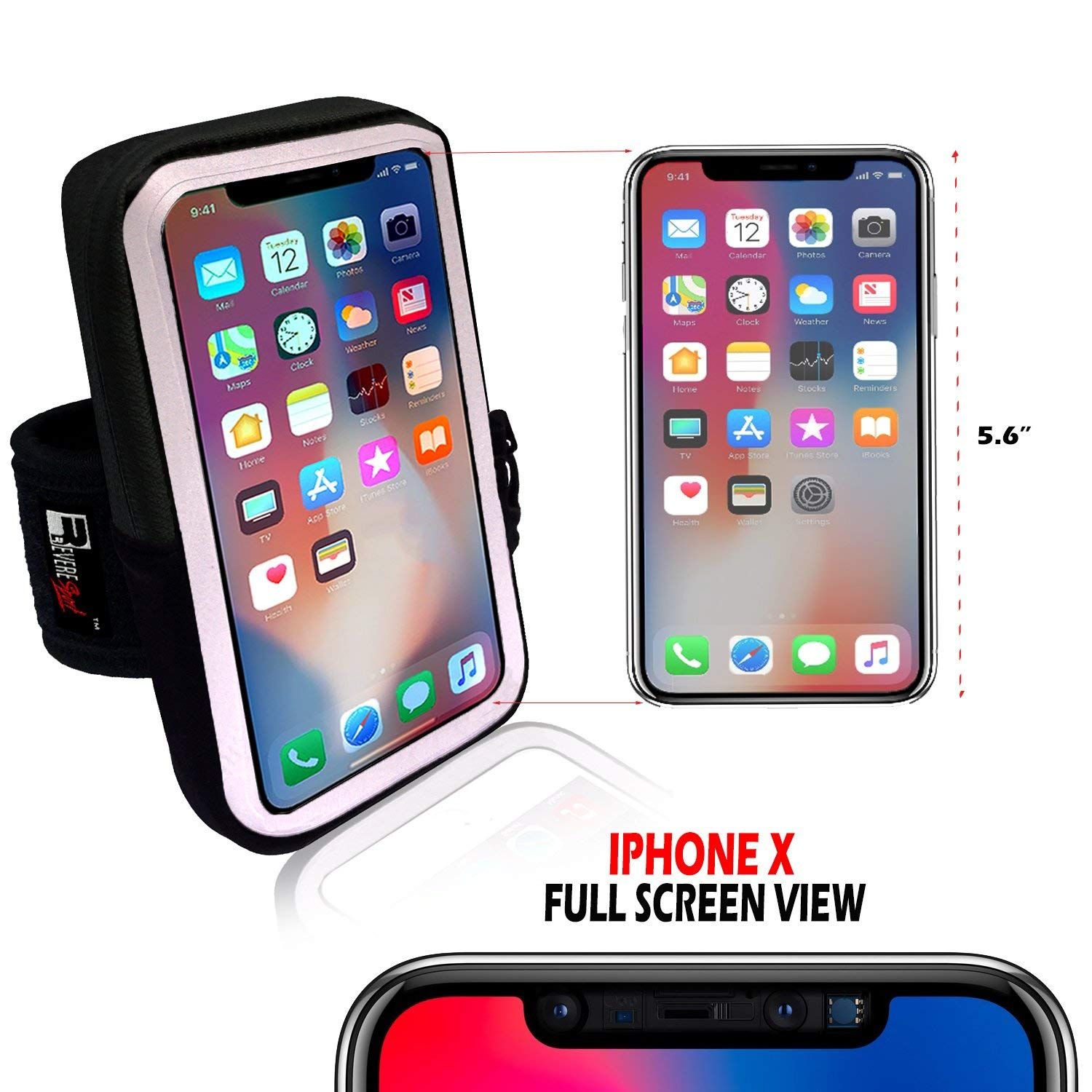 pretty nice 8bb4d 1970f Premium iPhone X / 10 Running Armband with Face Scanner Access. Sports  Phone Arm Case Holder for Runners, Gym Workouts & Exercise (X-Small -  X-Large ...