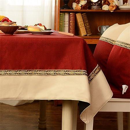 110 * 160 cm BURDEOS rojo beige Patchwork juego de mesa de tela de ...