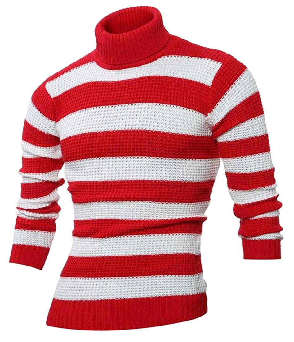 WSPLYSPJY Mens Casual Slim Contrast Color Stripe Long Sleeve Knit Sweater