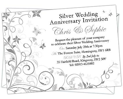 Personalizado plata aniversario de boda invitaciones (código de ...