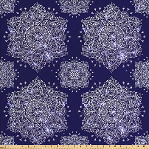 Woven Polyester 108' Round Tablecloth - Ambesonne Ethnic Fabric by the Yard, Ethnic Floral Ornament Tribal Round Mandala Paisley Inspired Retro Style, Decorative Fabric for Upholstery and Home Accents, Lavender Blue Indigo