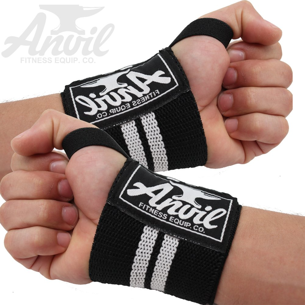 Push Ups and All Pressing Movements Anvil Fitness Weightlifting Wrist Wraps Eliminate Wrist Pain and Lift Heavier! Pair of Adjustable Elastic Wrist Straps Perfect for Bench Press