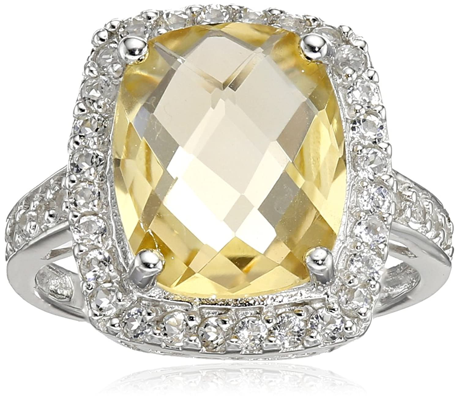 Amazon Sterling Silver Citrine and White Topaz Ring Jewelry