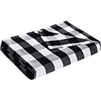 DANGTOP Twin Size Buffalo Plaid Cooling Blankets, Lightweight Black White Checker Plaid Decorative Throw Blanket for Hot…