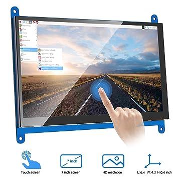 VANYE Pantalla Táctil Capacitiva Resolución LCD 1024 x 600 Monitor HDMI de 7 Pulgadas para Raspberry Pi 3 2 1 Modelo BB + A + BeagleBone Black Banana ...