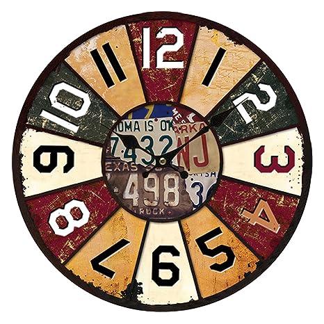 Reloj de pared, likecom redonda de madera reloj de pared Vintage Décor cocina digital reloj