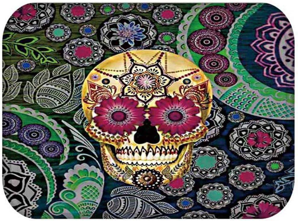 Felpudos Entrada,3D Mandala Colorido Floral Cráneo Ojos Imprimir Puerta De Entrada Antideslizante,Welcome Mat La Alfombrilla Dormitorio La Alfombra del Pasillo Rectángulo Puerta Suave Alfombra P