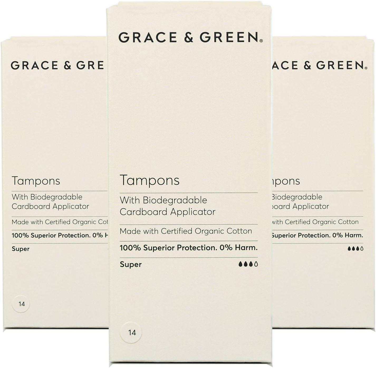 Grace & Green, tampones 100% algodón orgánico con aplicador ...