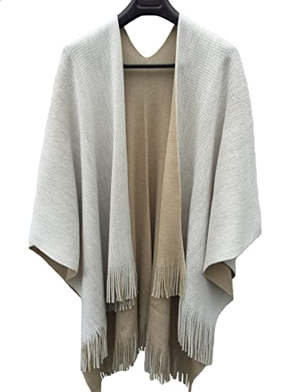Makroyl Poncho en tricot réversible   écharpe de Noël pour femme - Beige - Taille  unique 141d0fc7ef8