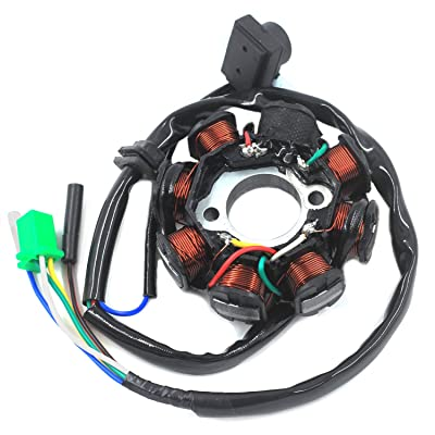 Trkimal Ignition Stator Magneto 5 wire DC 8 Pole Coil for GY6 49cc - 180cc engine, Scooter Moped ATV Dune Buggy Go Kart: Automotive