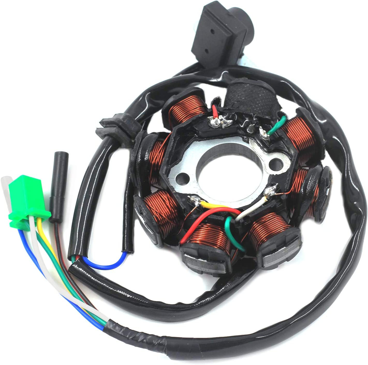 Trkimal Ignition Stator Magneto 5 wire DC 8 Pole Coil for GY6 49cc - 180cc engine, Scooter Moped ATV Dune Buggy Go Kart