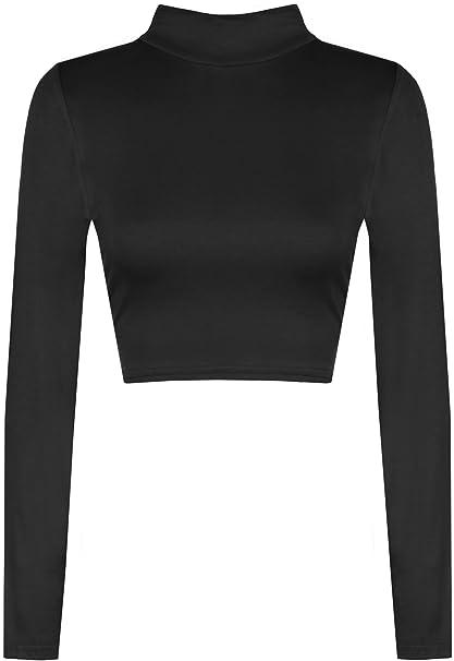 Women's Ladies Long Sleeve Polo Neck Turtle Neck Casual Plain Crop Top