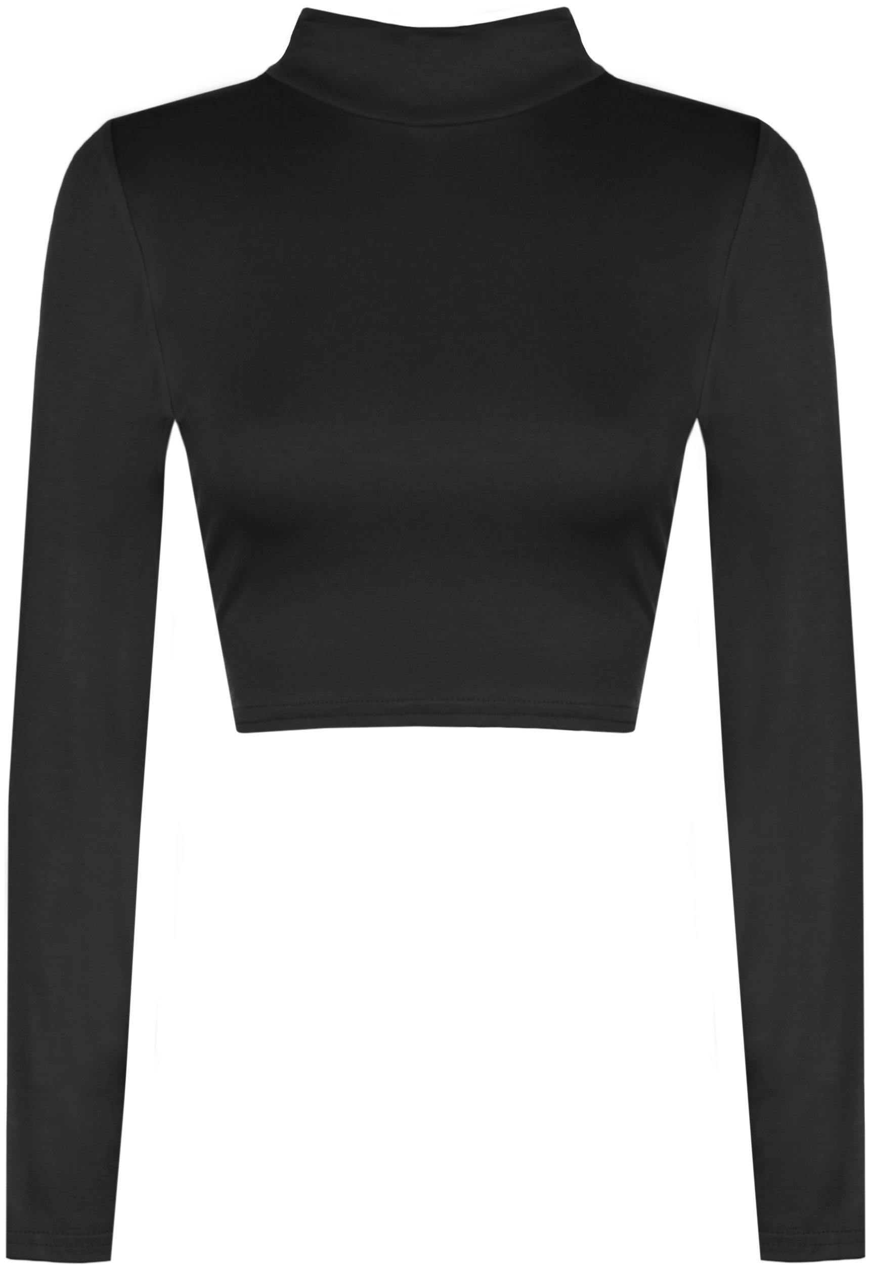 WearAll Womens Turtle Neck Crop Long Sleeve Plain Top - Black - US 4-6 (UK 8-10)