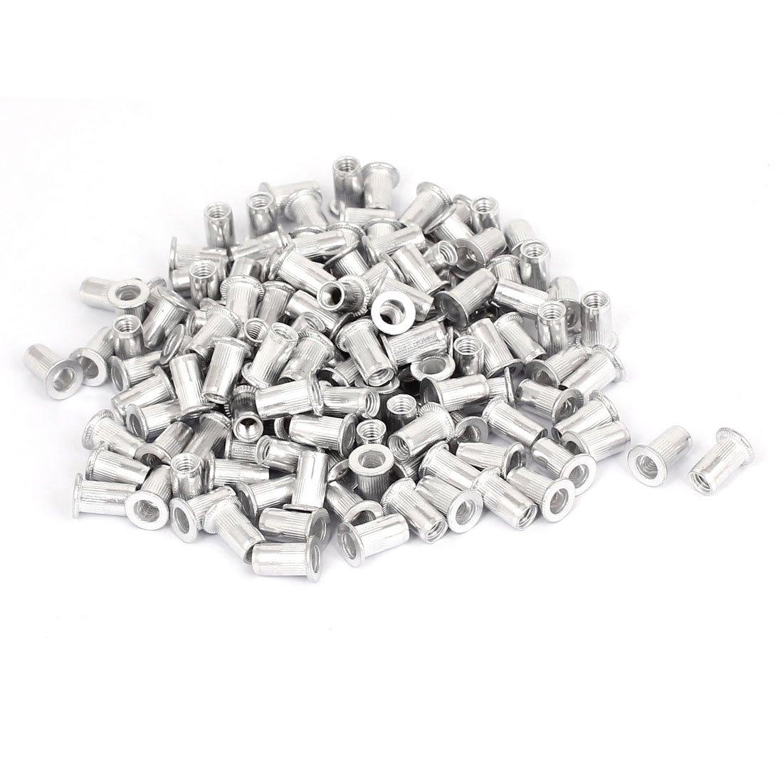 uxcell300 Pcs M5 Aluminum Threaded Flat Head Rivet Nuts Nutserts Fasteners a15072400ux0390