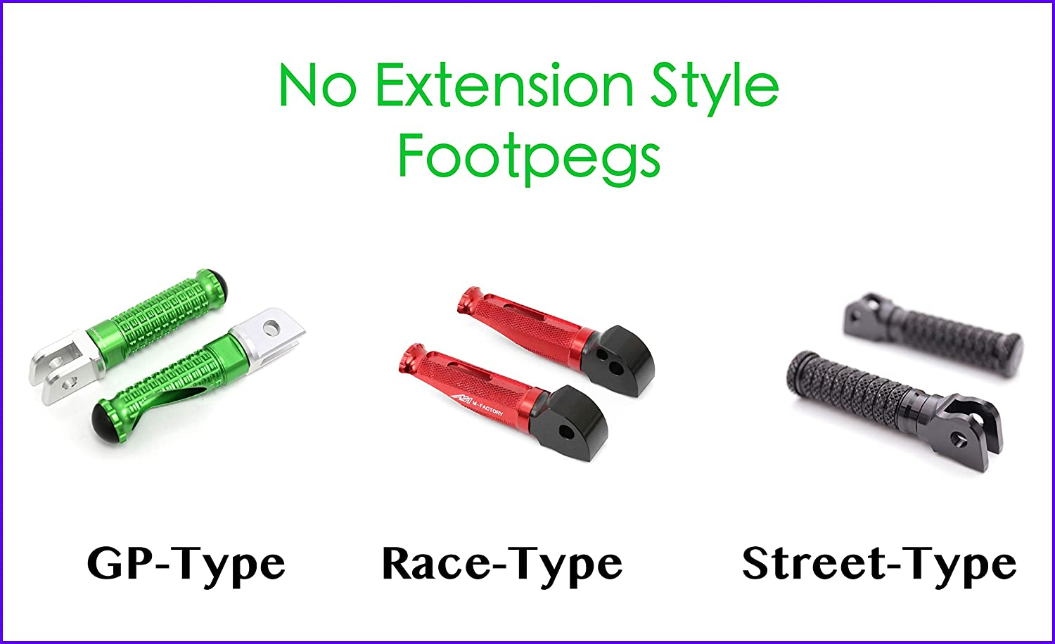 Model FP-FRONT-F114-40MM-BK-POLE-BK Autobahn88 Motorcycle Footpeg Front - STREET-Type with 40mm-Extension Black