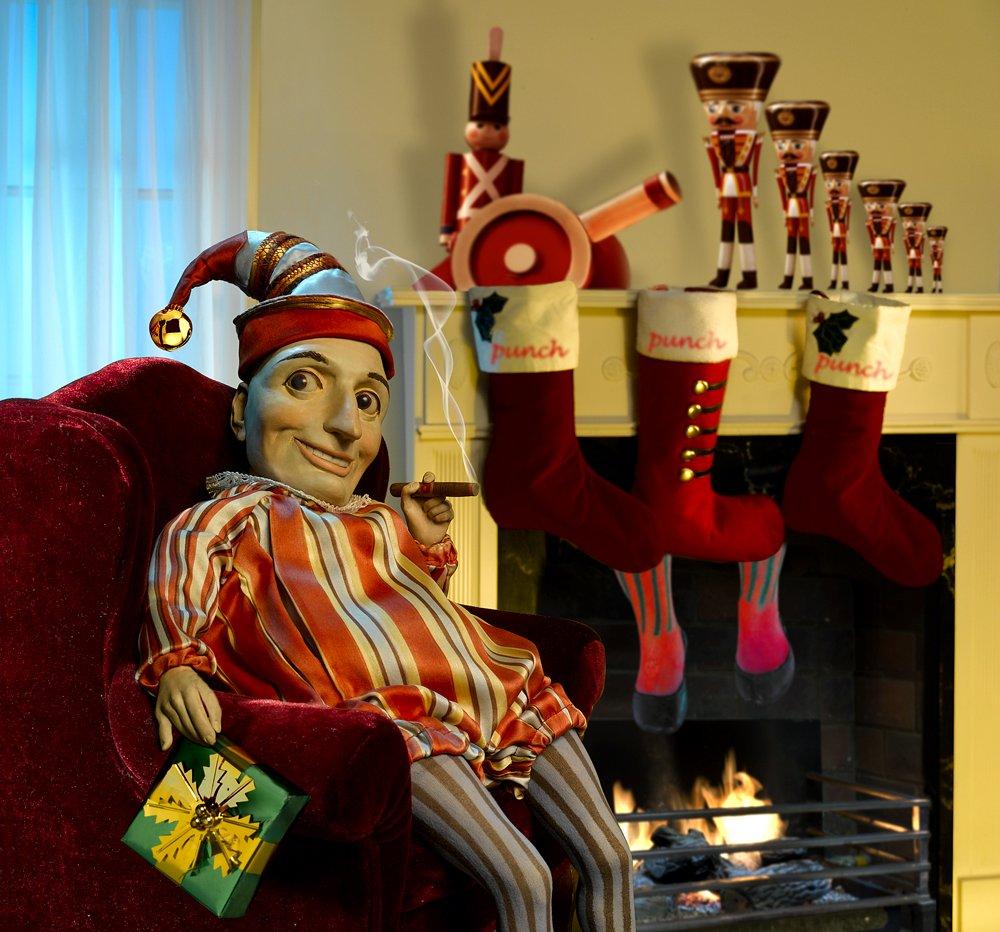 Punch Enjoying a Christmas Cigar by