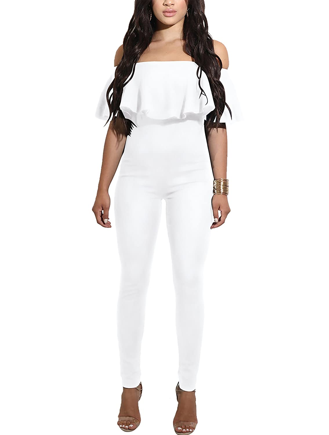 Amazon.com: CoCo fashion Shoulder Sleeve Hollow Out Sexy Women Bodycon Long Jumpsuit Rompers (Medium, 2186-White): Clothing