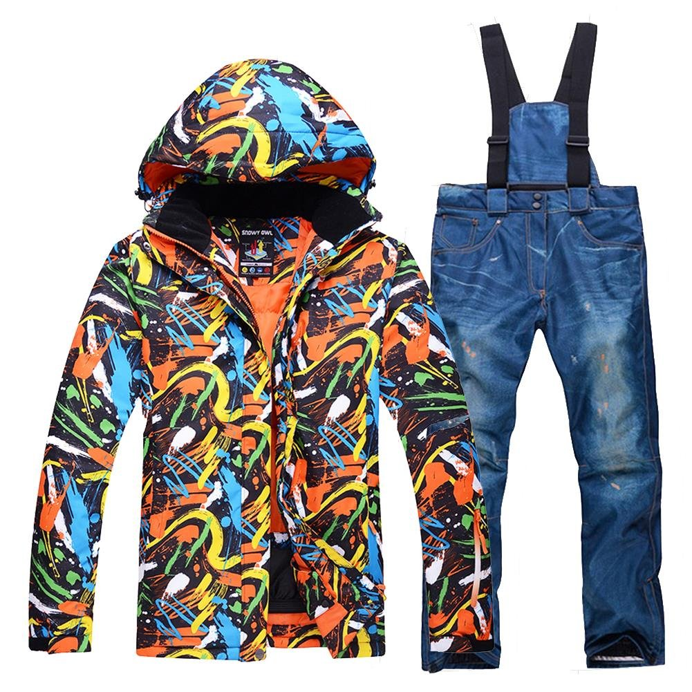 HOTIAN Mens Coloful Ski Jacket Wear Waterproof Windproof Snowboard Jacket Pants Set