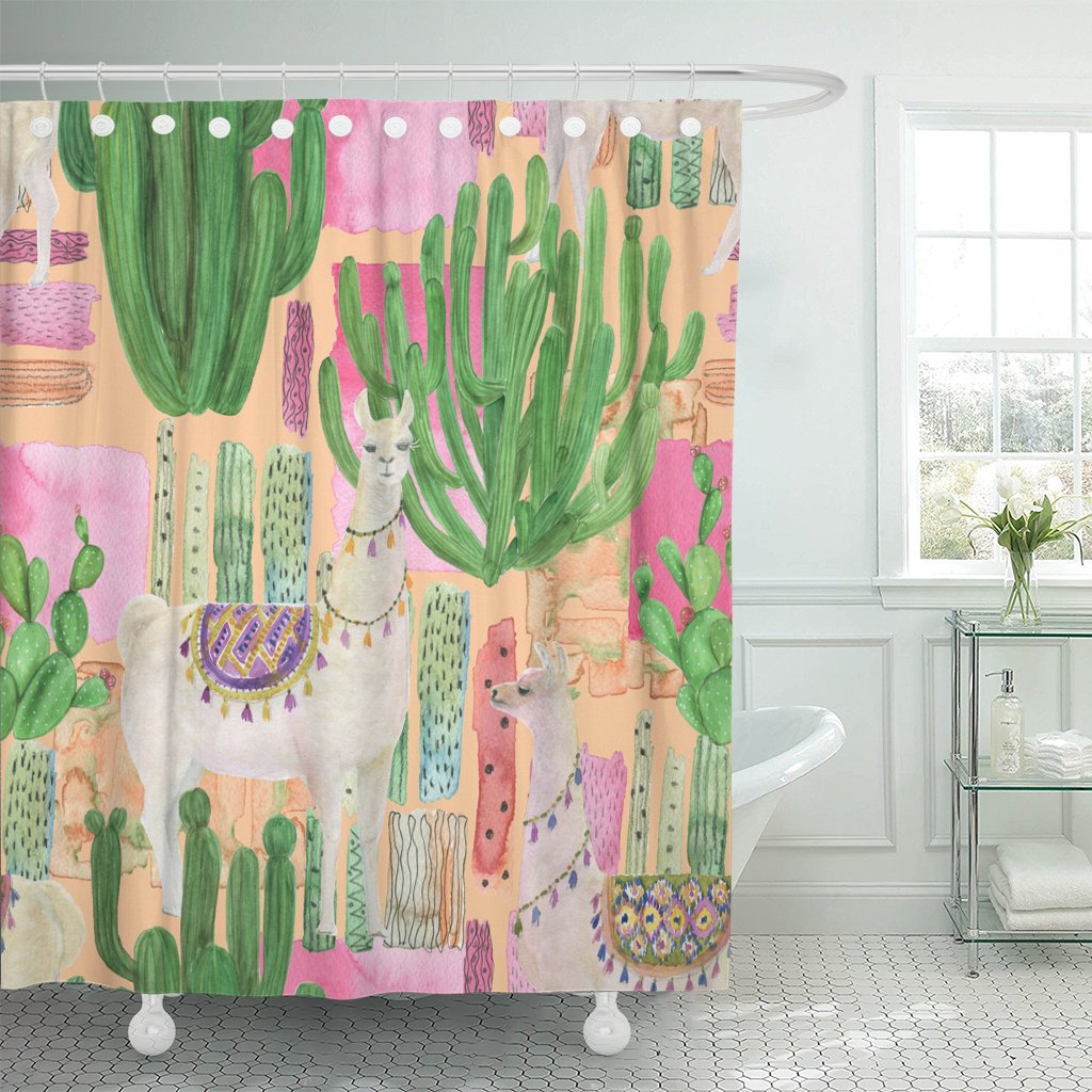 TOMPOP Shower Curtain Alpaca Watercolor Painting Llamas and Cacti Peru Pet America Waterproof Polyester Fabric 72 x 72 Inches Set with Hooks by TOMPOP