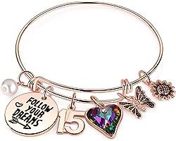 Birthday Gifts for Women Girls Bracelet, Birthday Charm Bracelets 10th 20th 30th 40th 50th 60th 70th 80th 90th Birthday Gift