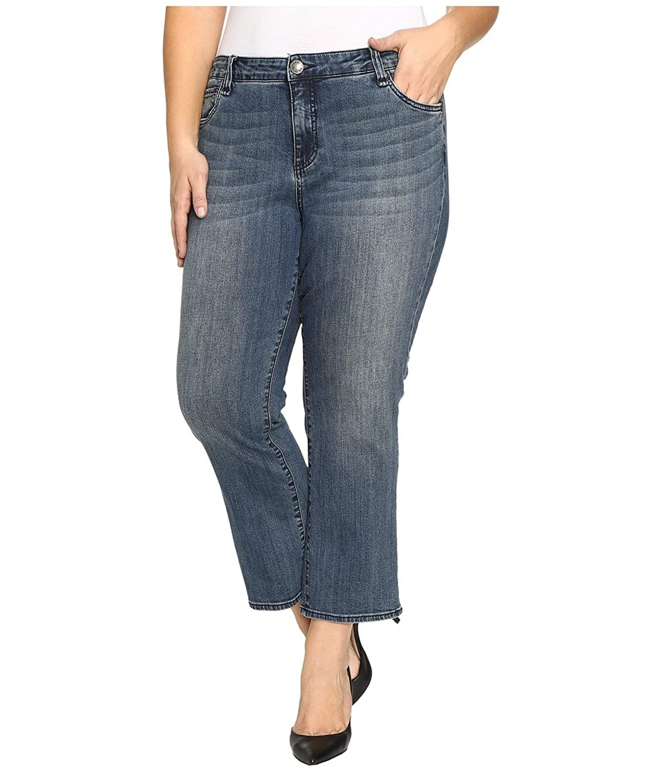 KUT from the Kloth Women's Plus Size Reese Crop Flare Jeans in