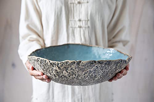 Serving Bowl Salad Bowl Fruit Bowl Pottery Bowl Handmade Ceramics in Teal and Green Large Bowl