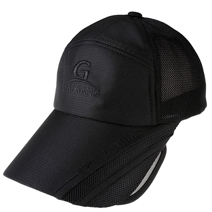 12954d260599c6 Ayliss Men Women Curved Visor Hats Sunscreen Scalable Brim UV Proof  Baseball Cap (Black)