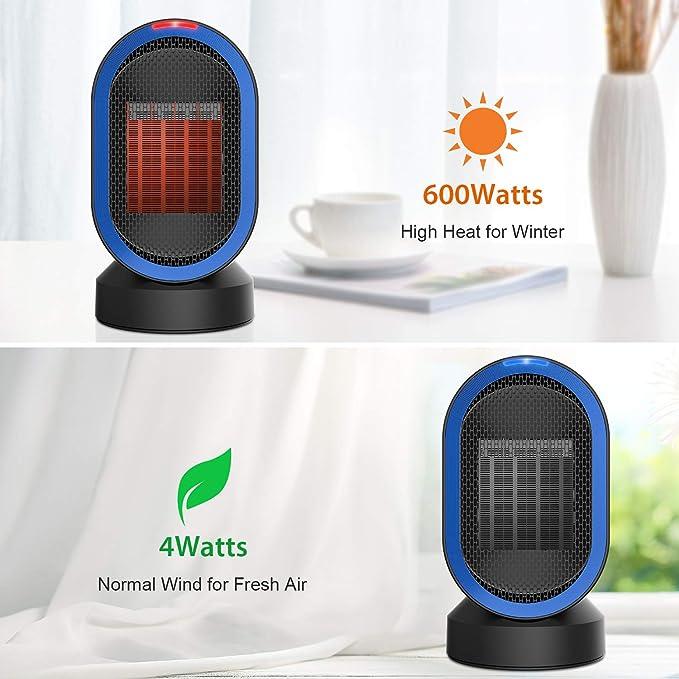 NEXGADGET Calefactor Cerámico Portátil, Calendador Eléctrico Oscilación Automática de Aire Caliente y Natural Protección contra Sobrecalentamiento y Volcado ...