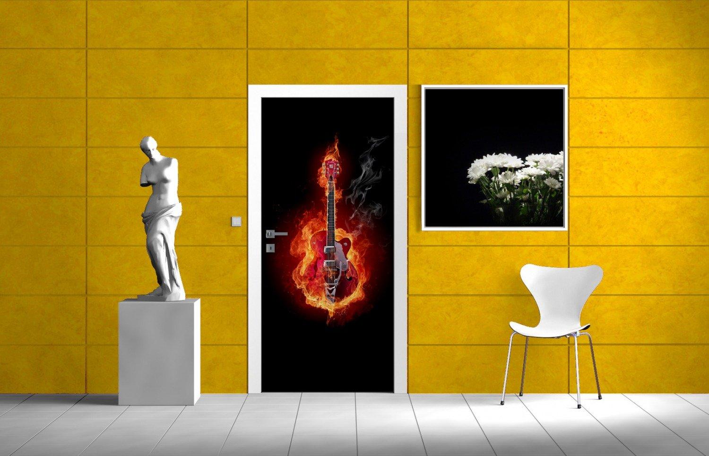 Posterdepot Papel pintado para puerta puerta Póster De Guitarra - encendidas Tamaño 93 x 205 cm, 1 pieza, ktt0095: Amazon.es: Bricolaje y herramientas