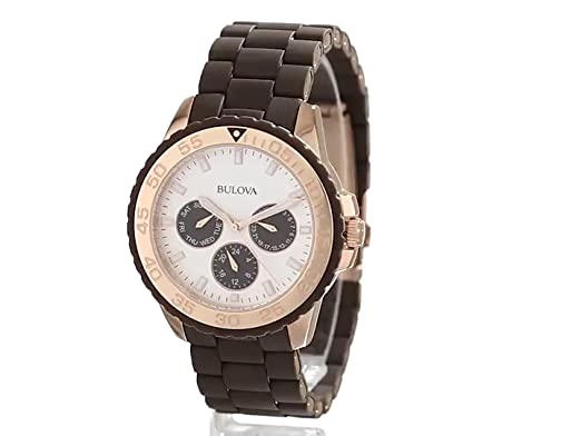 Amazon.com: Bulova Womens 98N103 Brown Rubber Wrapped Stainless-Steel Bracelet Watch: Bulova: Watches