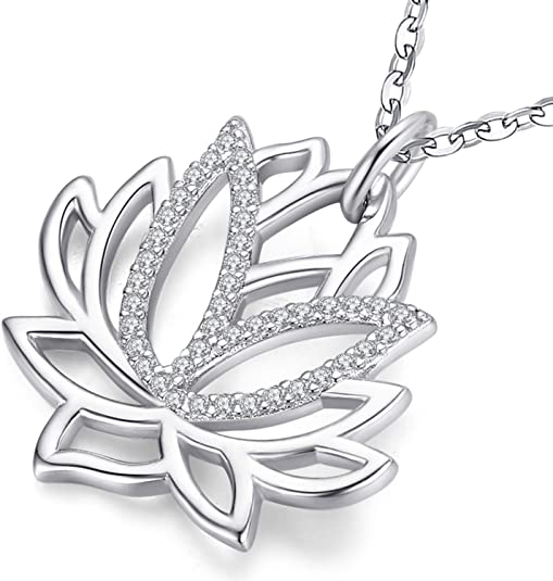 Aniu Silver Necklace for Women 18 Inch, Lotus Flower Sterling Silver Pendant with Cubic Zirconia - Jewelry Gift for Girlfriend, Wife & Mom