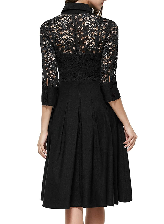 Long sleeve black lace dress amazon