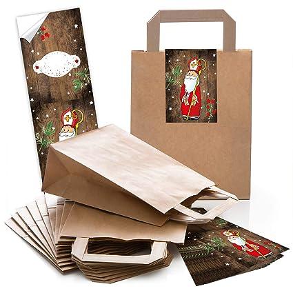 50 marrón bolsa de papel Bolsa de Regalo con asa suelo 18 x ...