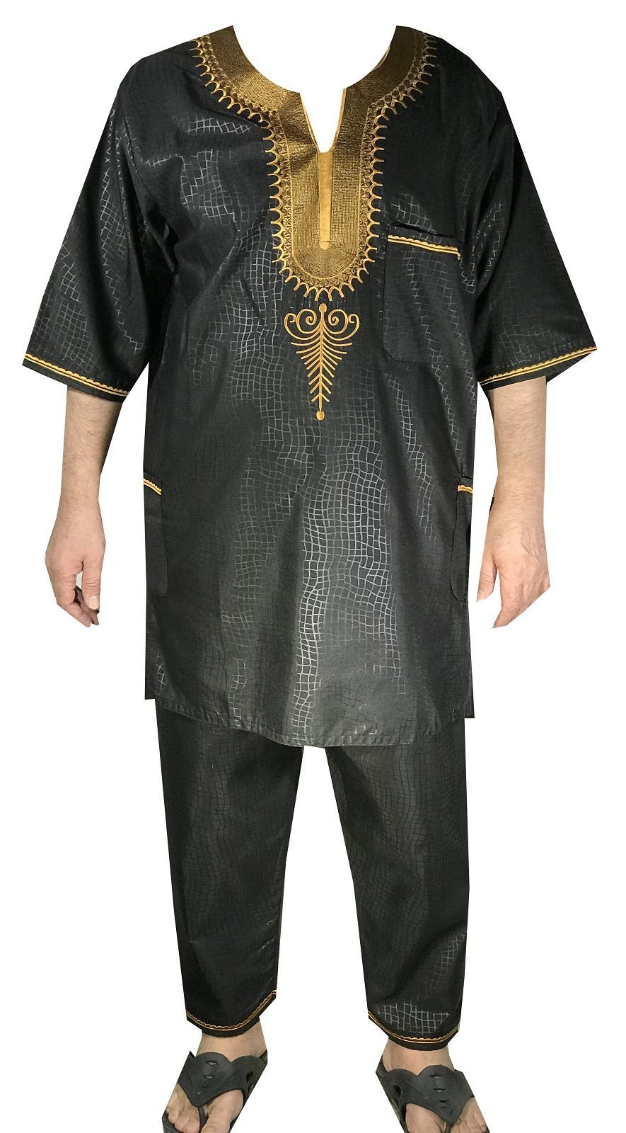 DecoraApparel African Traditional Men Suit Ethnic Clothing Brocade Pant Set (One Size, Black Gold)