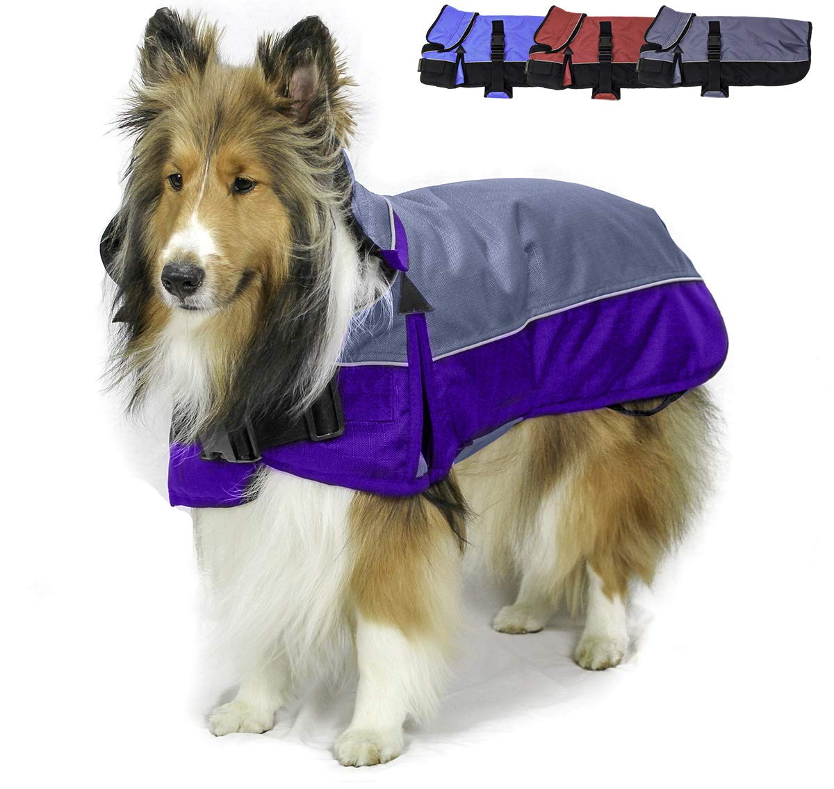Derby Originals Safety Reflective 1200D Ripstop Waterproof Nylon Winter Dog Coat with Removable Neck Cover and Two Year Warranty - 220g Polyfil Insulation