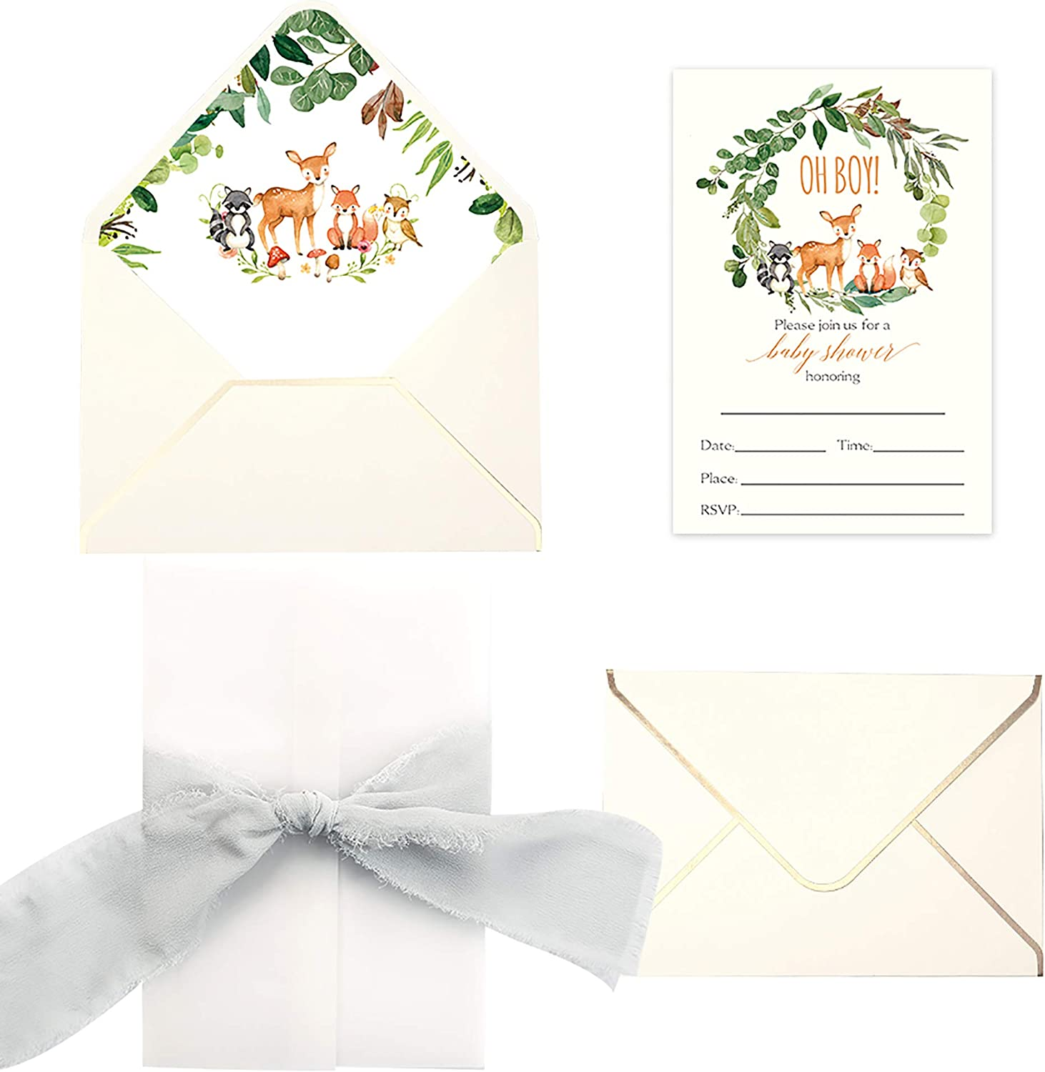 Doris Home 25pcs Fill in Baby Shower Invitations with Fawns and Fox Design, Gray Chiffon Ribbon and Cream Envelope for Baby Boy