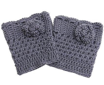 Amorar Calentadores de Pierna de Moda Medias de Punto Crochet Flor Botas Calcetines puños para Mujeres