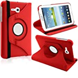 "Elite Flip Case Book Cover 360 Degree Samsung Galaxy Tab 3 Neo T111 T110 7"" Tablet (Red) + Stylus"