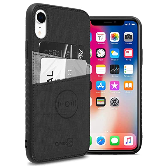 best sneakers 0e021 45f2b CoverON EDC Series iPhone XR Card Holder Case, Slim Fit Magnetic Car Mount  Compatible Wallet Phone Cover for Apple iPhone XR (10R)- Black