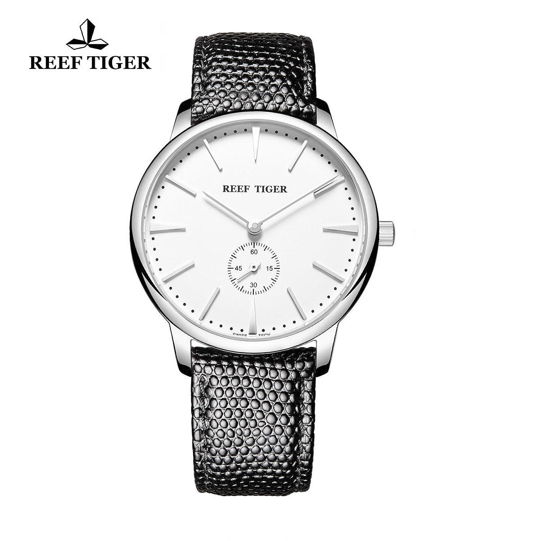 Reef Tiger Paar Uhren Ultra Thin Stahl weiß Zifferblatt Lederband Herren Armbanduhr rga820