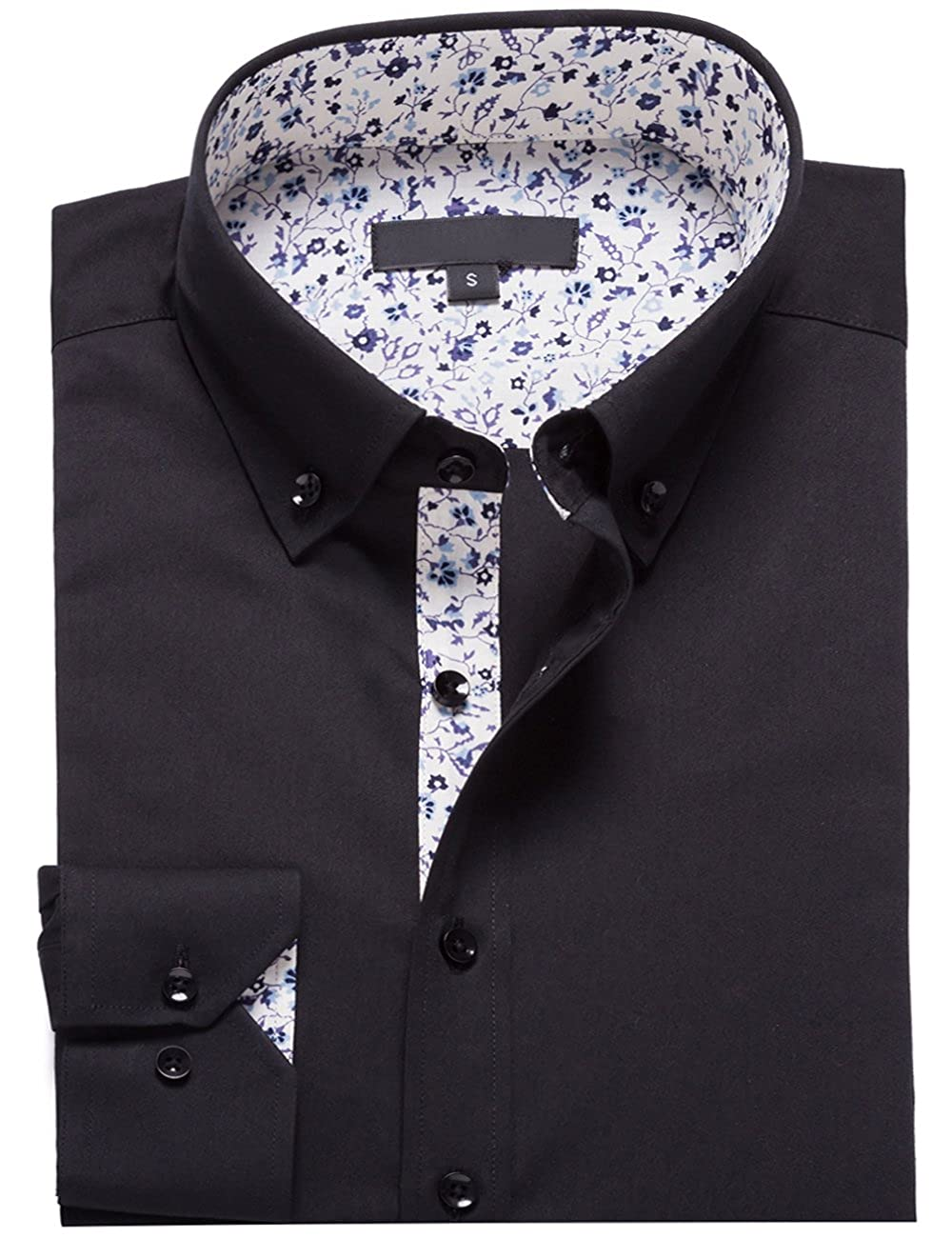 6826f6e7d7 STYLE:Mens Tops Fashion Long Sleeve Fitted Dress Shirts(Collared Floral  Lined) FEATURE:This Stylish Men's Collared Dress Shirt Comes in a Modern Fit  ...