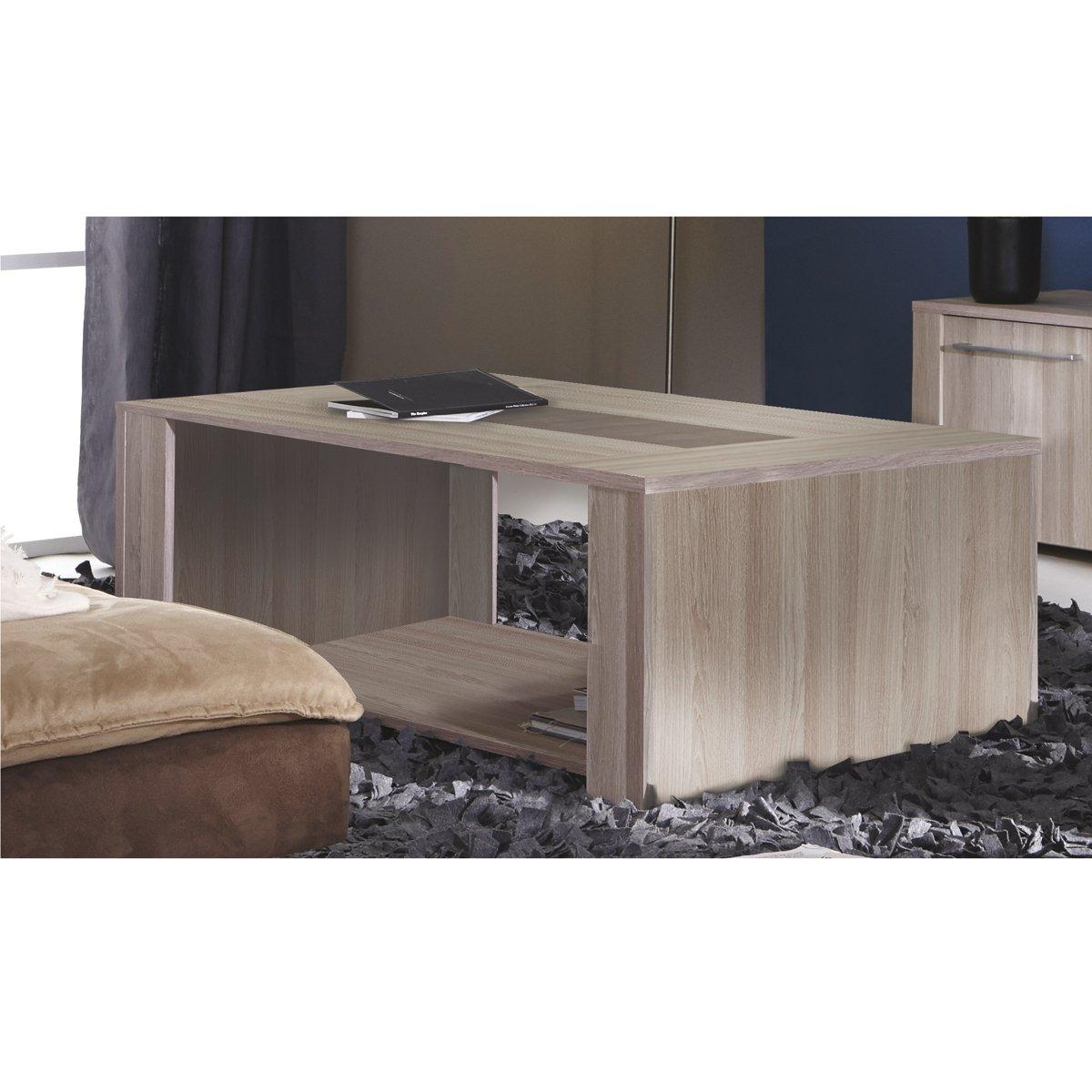 Demeyere Duchess Coffee Table, Wood, Shannon Oak/Concrete: Amazon.co ...