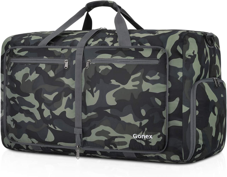 Gonex Bolsa de Viaje 60L, Plegable Ligero Bolso Equipaje Maleta Grande Bolsas Deportes Gimnasio Maletas de Mano Impermeable Duffel Travel Bag para Hombres y Mujeres Fin de Semana (Verde Camuflaje)