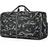 Gonex Foldable Travel Duffel 60L, Packable Luggage Duffle Bag Lightweight Water Repellent & Wear Resistant Black and Green AUmouflage