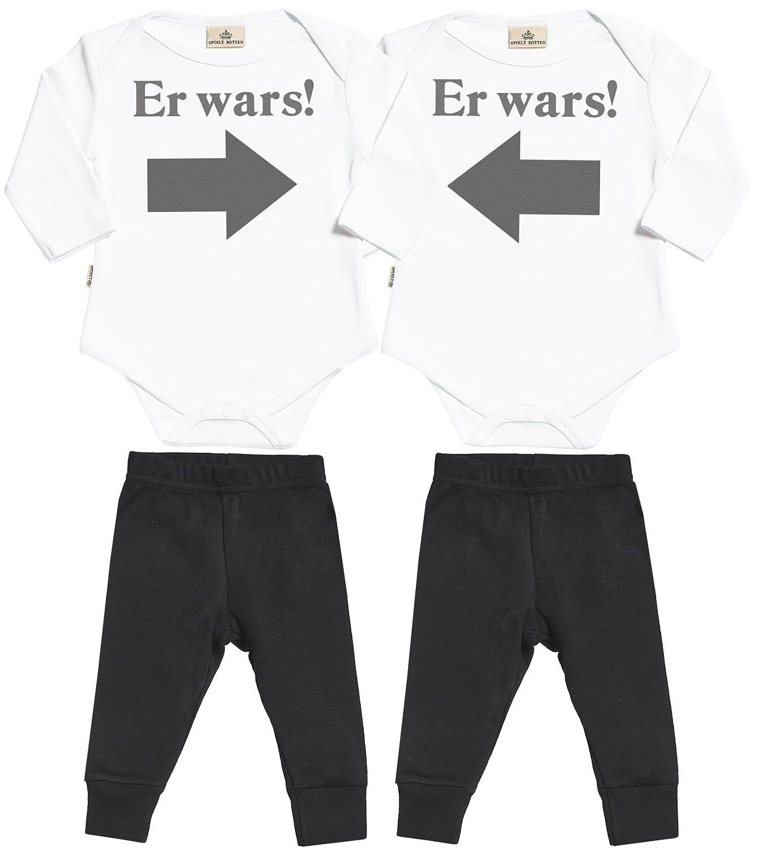 SR - Er Wars! Er Wars! Baby Zwillinge Set Baby Strampler & Baby Jerseyhose - Baby Zwillinge Body & Baby Zwillinge Hosen Baby Zwillinge Outfit DESRT2_TW-BL